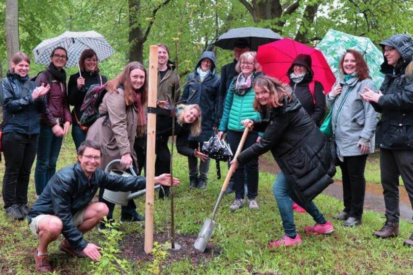 Baumpflanzen an der Wirkstätte von Carlowitz: Eine Hickory-Nuss aus der Familie der Walnüsse freute sich gleich über Regen am neuen Standort. Organisator Martin hielt bei Wind und Wetter in kurzen Hosen aus :)