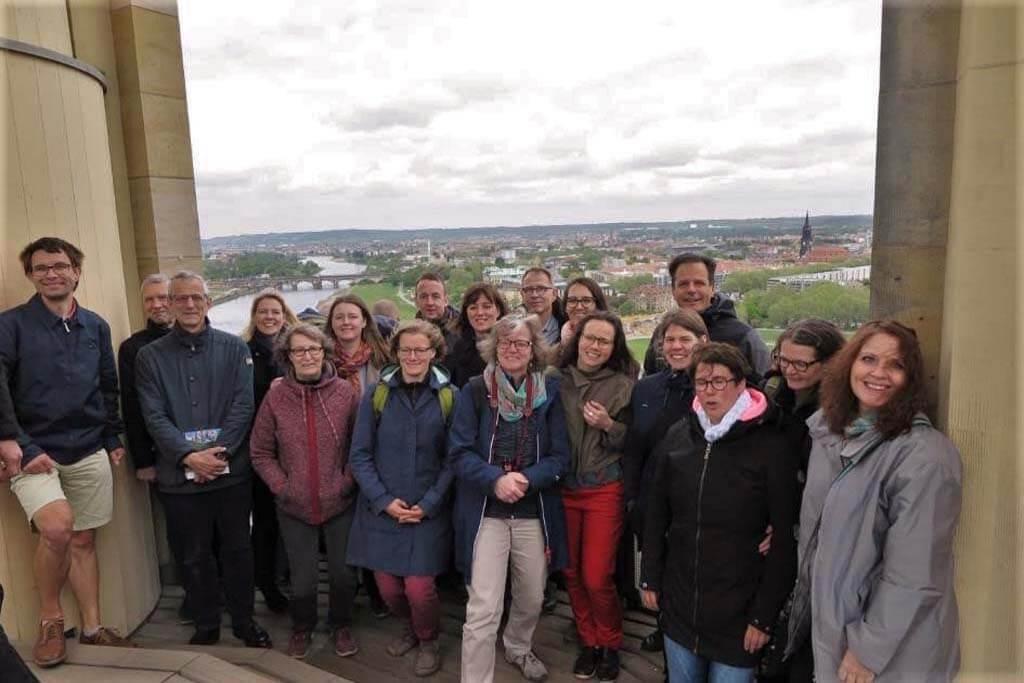 Turmbesteigung der CSM-Reisegruppe 2019 der Dresdner Frauenkirche.